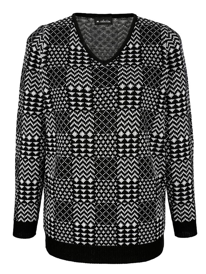 Pullover im schwarz/weiß Mustermix