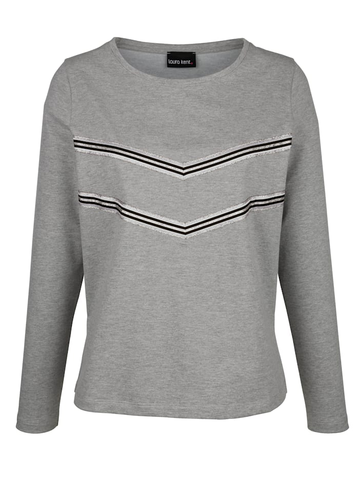 Laura Kent Sweat-shirt à bande reps contrastante devant, Gris