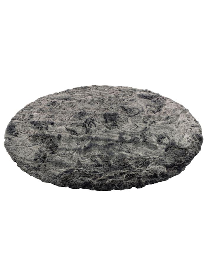 Pergamon Luxus Super Soft Fellteppich Aspen Rund Meliert, Anthrazit