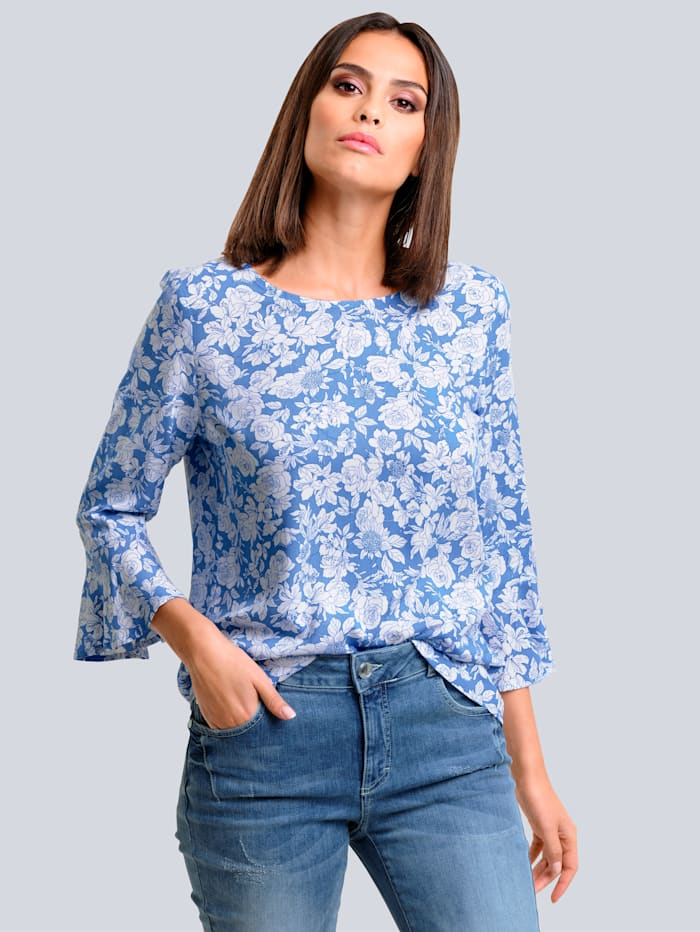 Alba Moda Blouse met bloemendessin, Blauw/Wit