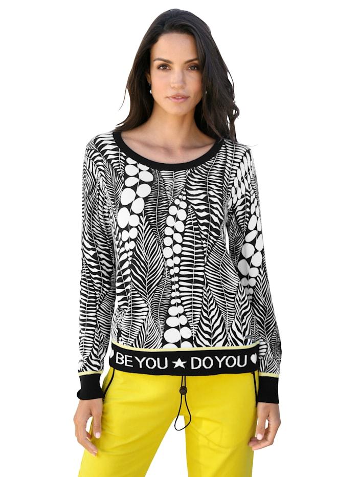 AMY VERMONT Pullover mit grafischem Muster, Schwarz/Weiß/Gelb