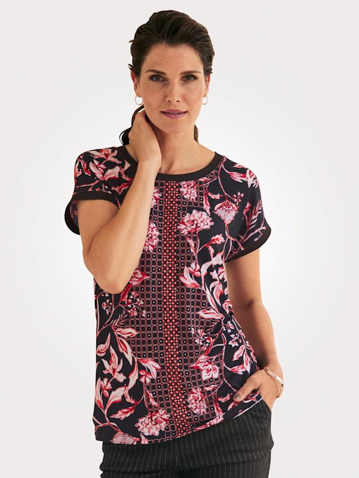 MONA T-shirt à superbe association de motifs, Corail/Noir