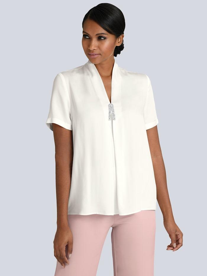 Alba Moda Bluse mit elegantem Strassbesatz, Off-white