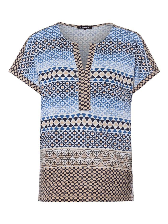 Olsen Rundhalsshirt mit Allover-Print, True Blue