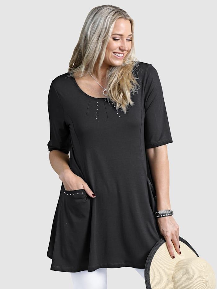 MIAMODA Longshirt mit Nieten am Ausschnitt und an den Taschen, Schwarz