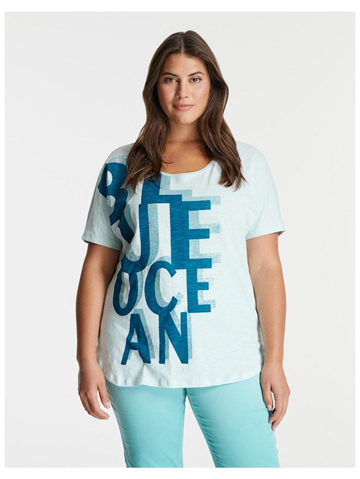 Samoon Legeres Shirt mit Letter-Print GOTS, Skylight gemustert