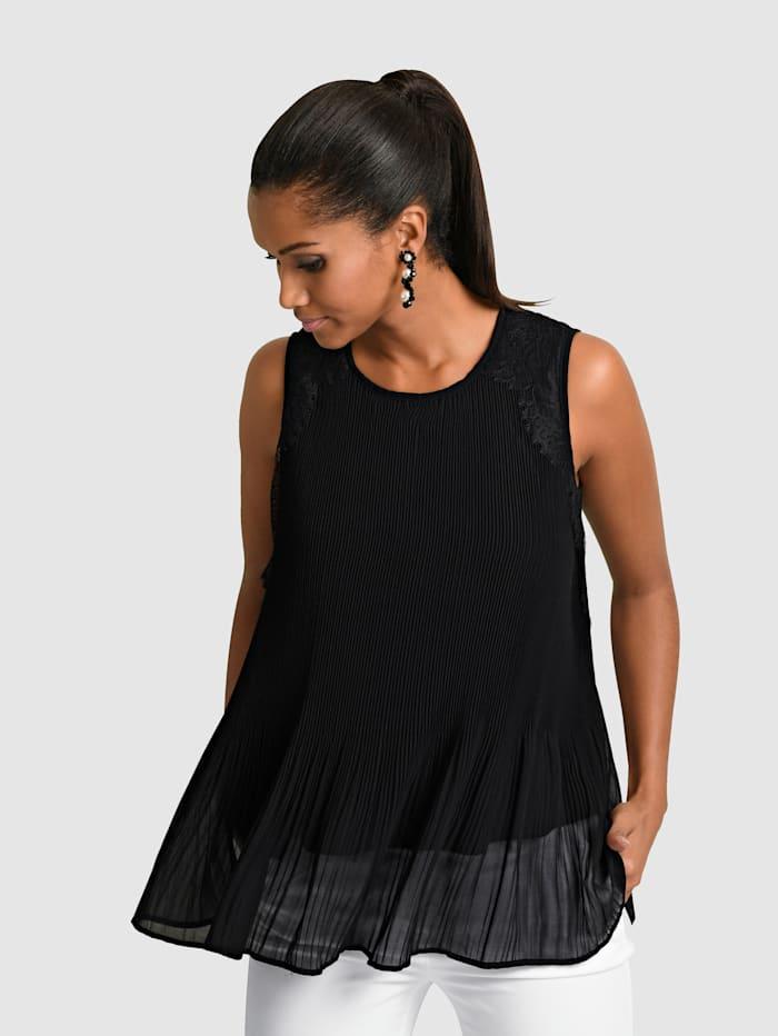 Alba Moda Topje van plissé, Zwart