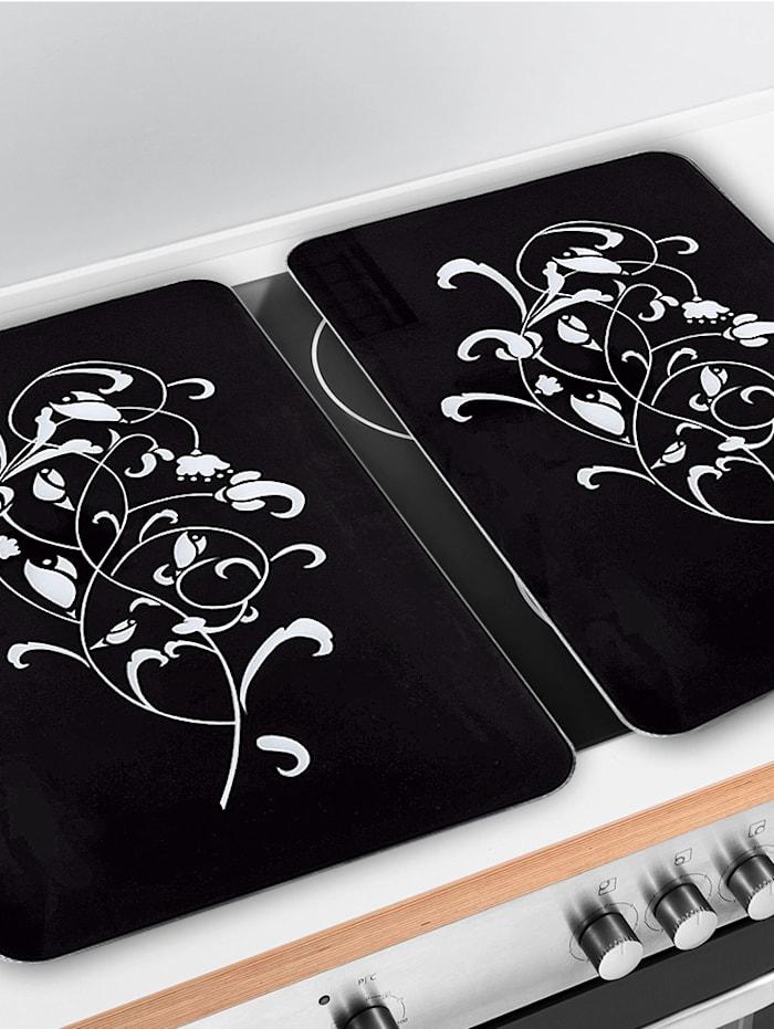 Lot de 2 protège-plaques 'Ornamento Nero'