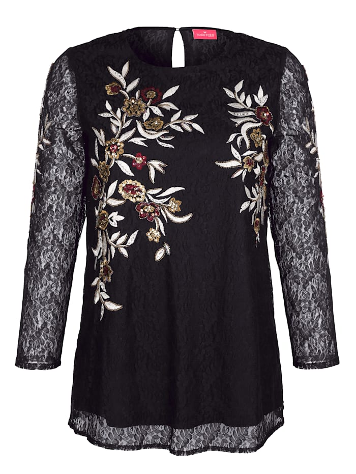 Bluse mit floraler Stickerei und Pailletten