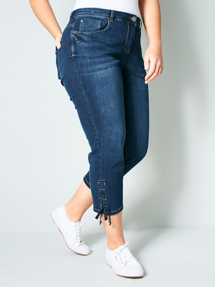 Janet & Joyce 7/8 Slim Fit Jeans mit Schnürung, Dunkelblau