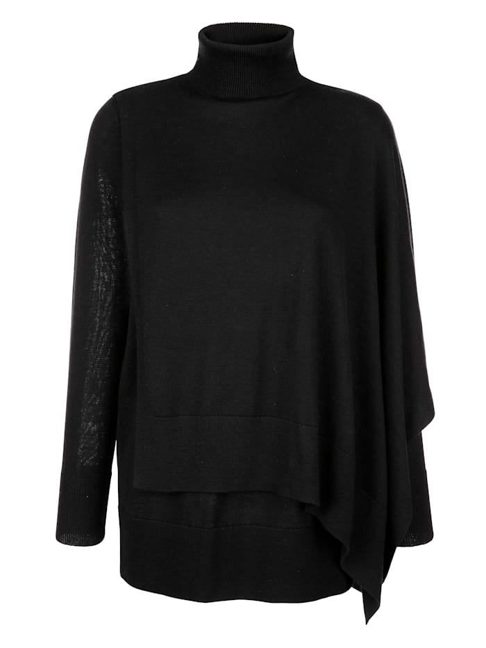 Alba Moda Pullover im Lagenlook, Schwarz