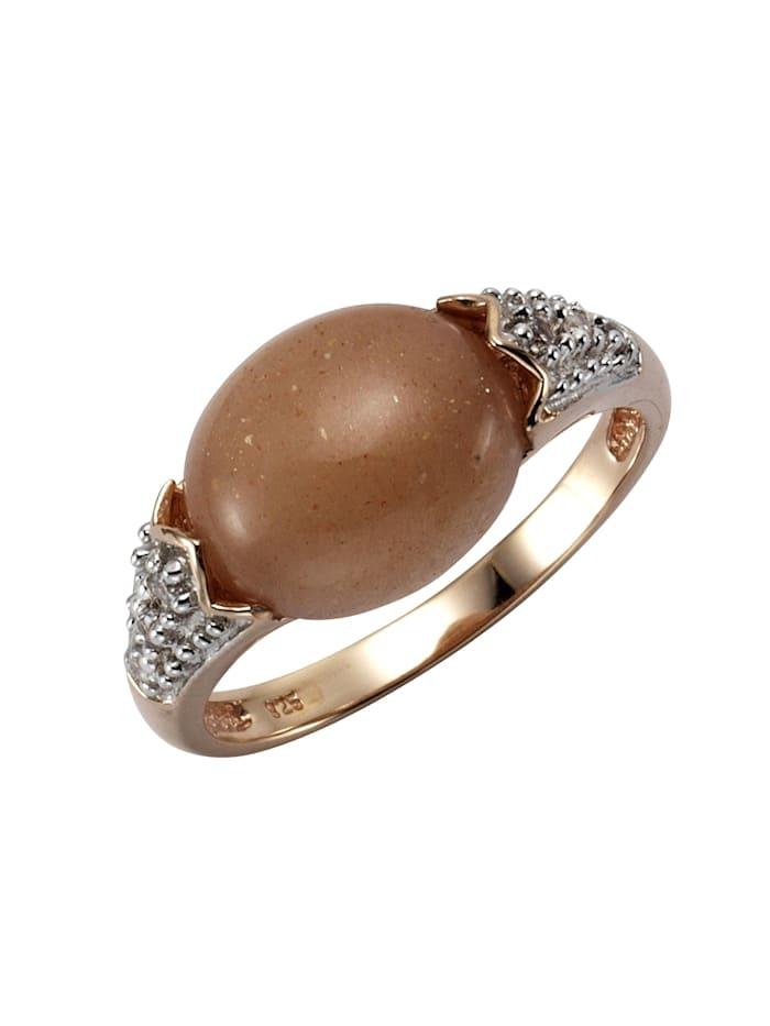 ZEEme Ring 925/- Sterling Silber Mondstein pfirsich Glänzend 925/- Sterling Silber, rot