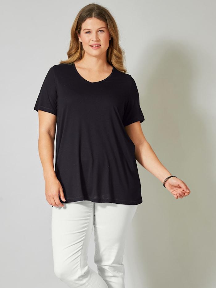 Janet & Joyce Shirt aus reiner Viskose, Schwarz