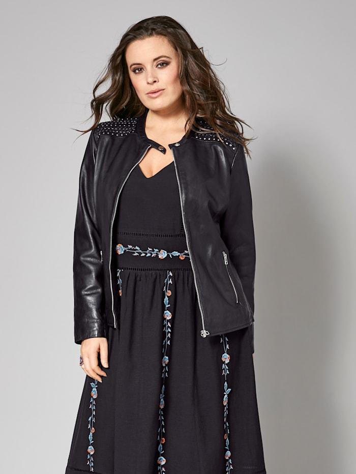 Sara Lindholm Leren jas, Zwart