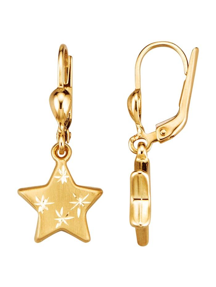 Diemer Highlights Ohrringe diamantiert, Gelbgoldfarben