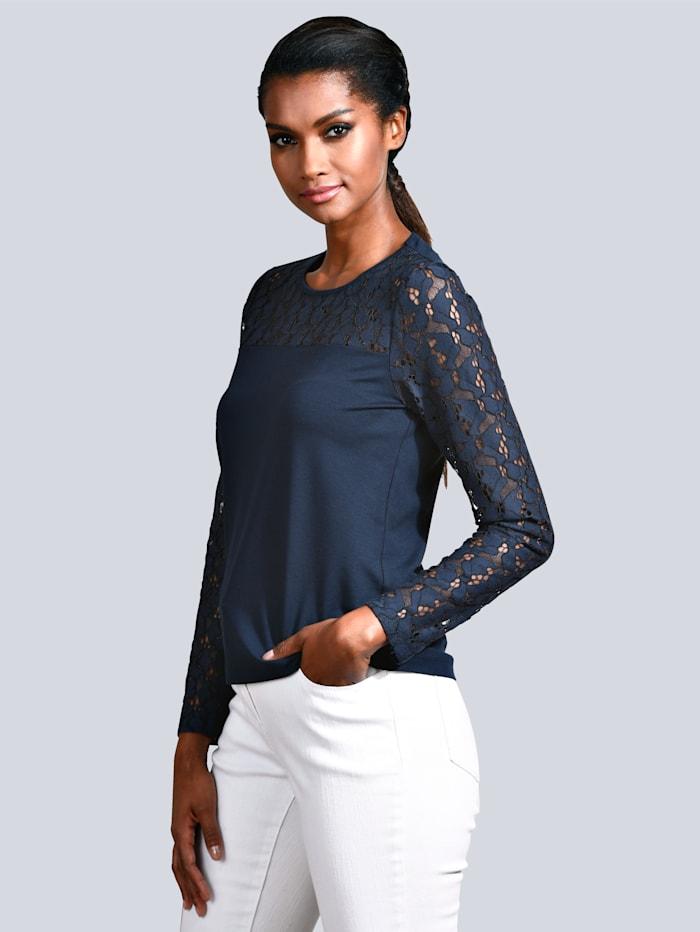 Alba Moda Shirt mit Spitzen-Einsatz an den Ärmeln, Marineblau