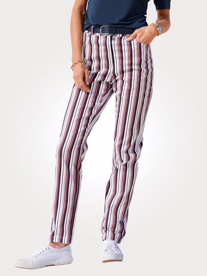 MONA Pantalon à rayures harmonieuses, Marine/Blanc/Rouge