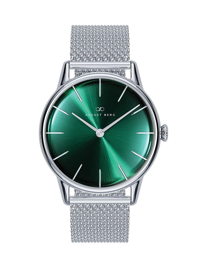 August Berg Uhr Serenity Greenhill Silver Silver Mesh 32mm, sunray green