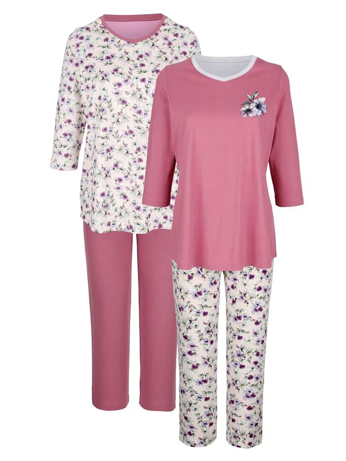 Harmony Schlafanzüge im 2er-Pack mit floralem Druck, Mauve/Rosé
