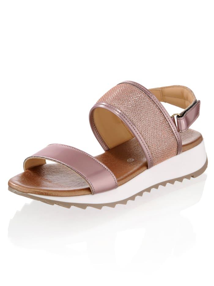 Sandalette in Metallic- und Netz-Optik