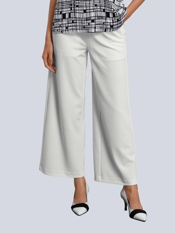 Alba Moda Hose in edler Ware mit leicht creppigem Griff, Weiß