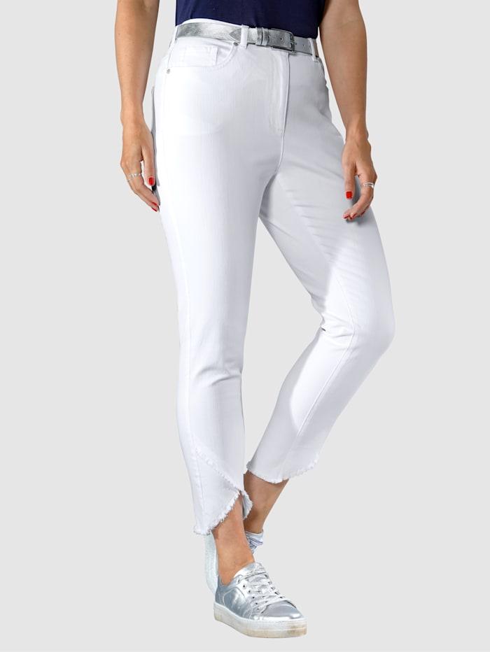 MIAMODA Jeans med asymmetrisk frynsekant, Hvit