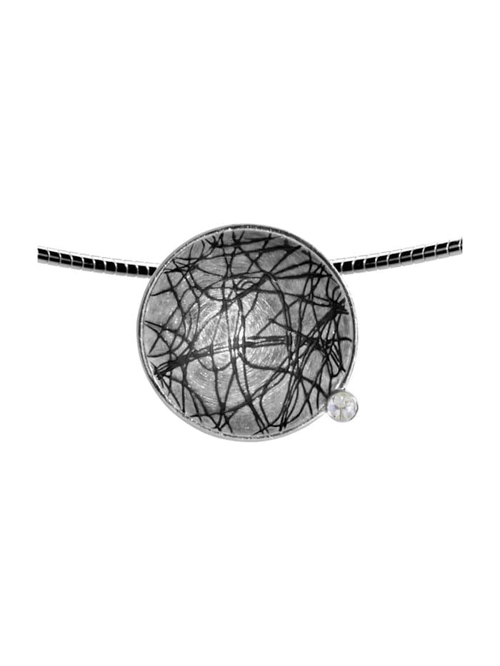 OSTSEE-SCHMUCK Halsreif mit Anhänger - Gleiter 24 mm-Sarah Vicenza - Silber 925/000 - Zirkonia, silber