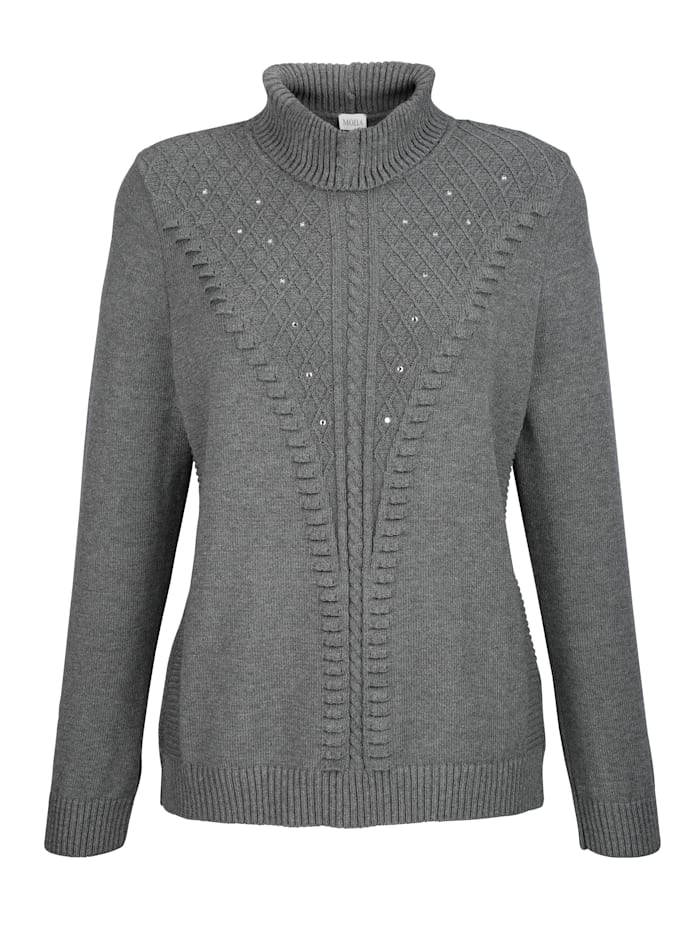 Polo neck jumper with decorative rhinestones
