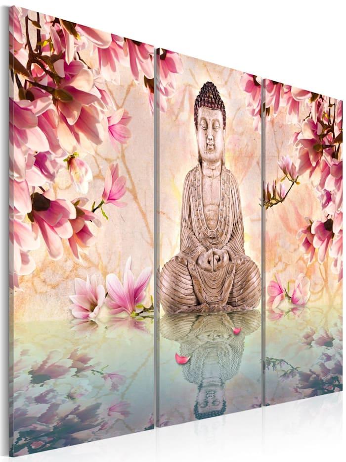 artgeist Wandbild Buddha - Meditation, Beige,Creme,rosa,Himmelblau