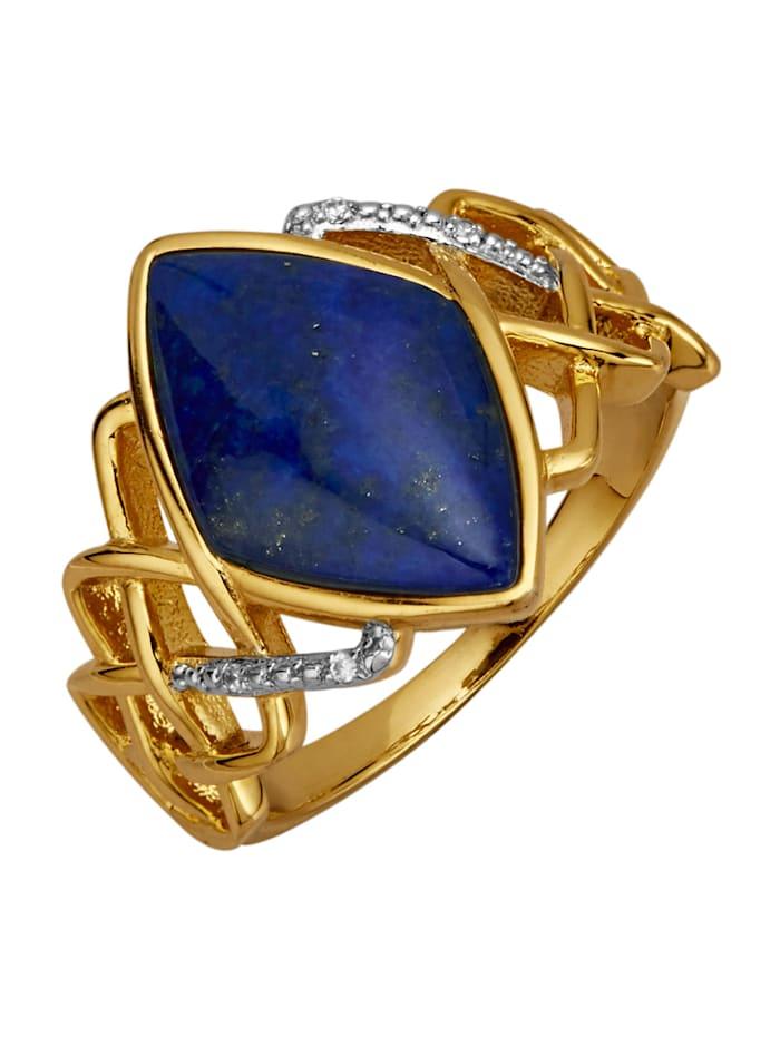 Ring med lapis lazuli och vita cubic zirconia, Blå