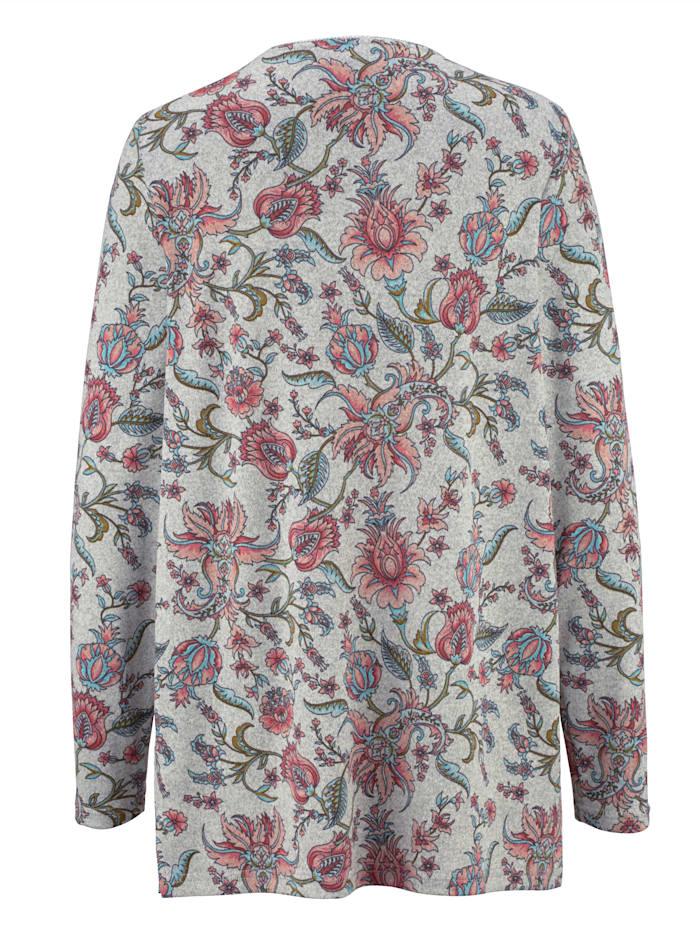 Feinstrickshirt mit floralem Druckdessin