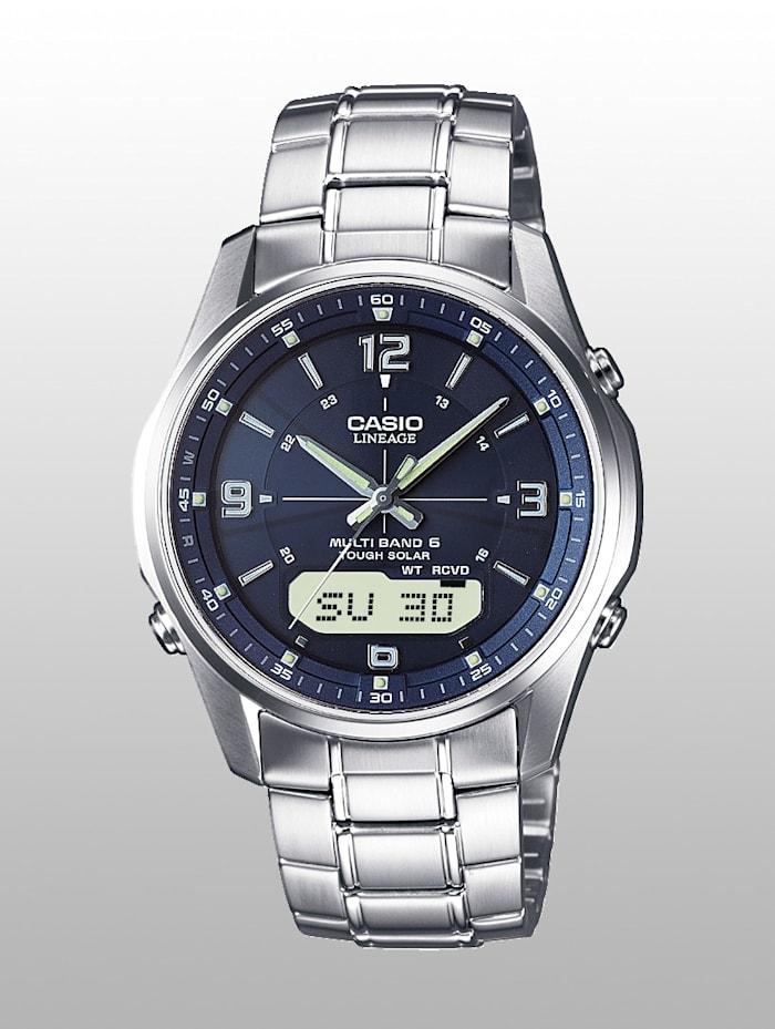 Casio Herren-Funk-Solar-Uhr Chronograph, Silberfarben