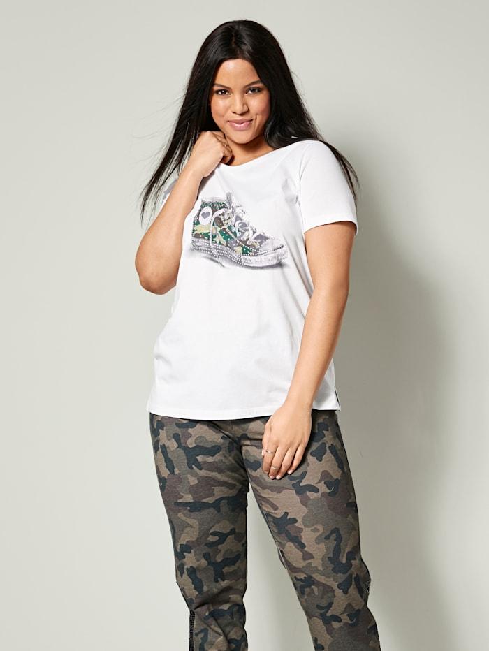 Angel of Style Shirt aus reiner Baumwolle, Weiß/Khaki