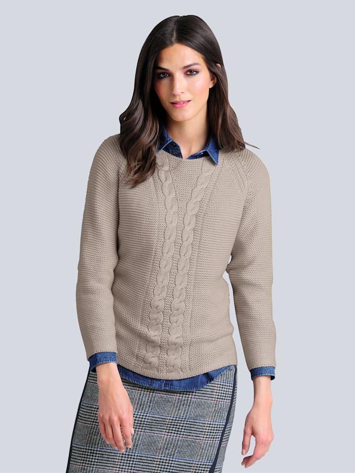 Alba Moda Pullover mit Zopf-Muster, Grau