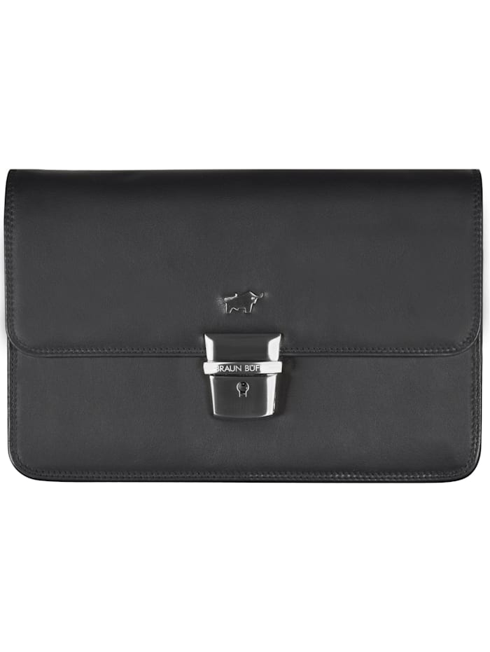 Braun Büffel Golf Herrentasche Leder 22,5 cm, schwarz