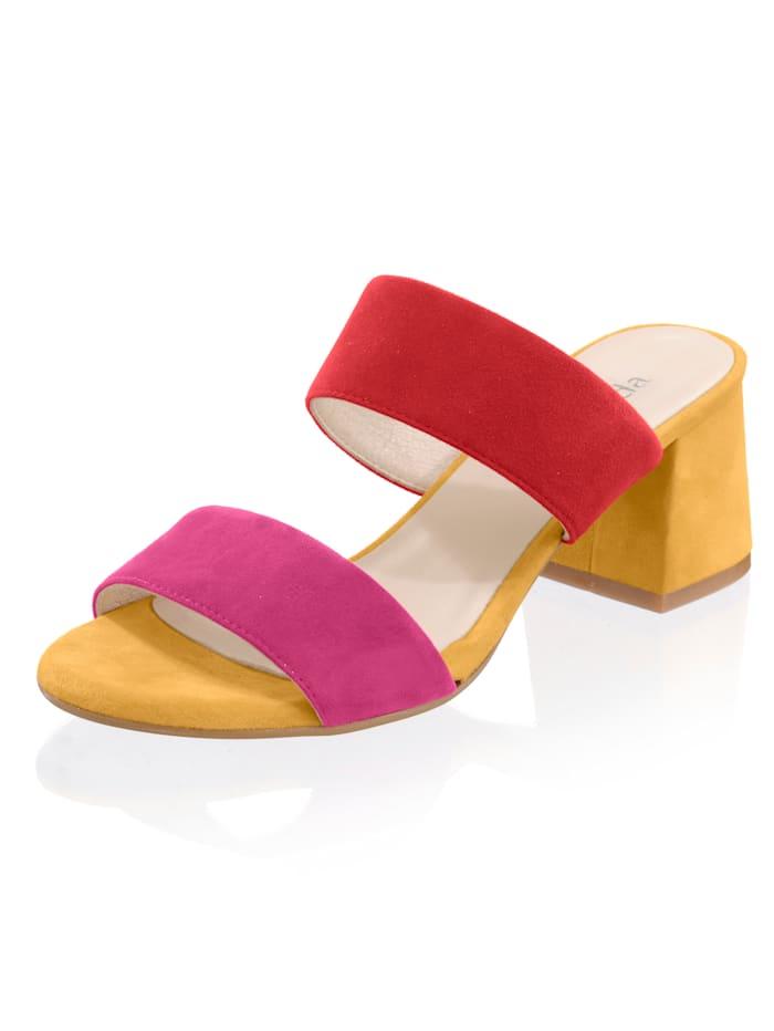 Alba Moda Muiltje met colourblocking, Geel/Pink/Rood