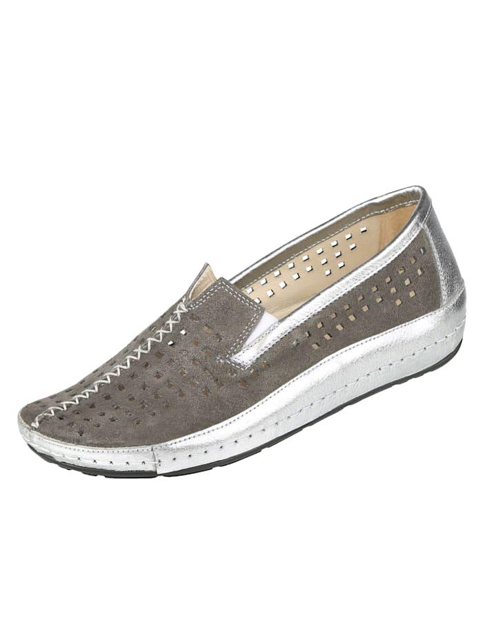 Naturläufer Slipper mit sommerlicher Perforation, Grau/Silberfarben
