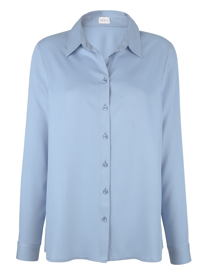 MONA Blouse made from a soft fabric, Light Blue