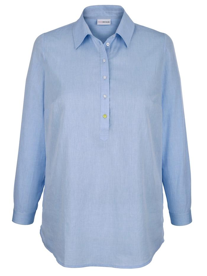 MIAMODA Bluse mit Seitenschlitzen, Hellblau