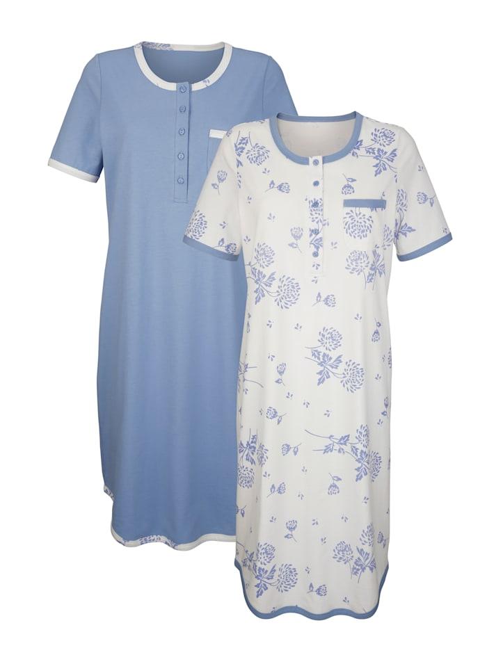 Harmony Nachthemden mit süßer Brusttasche 2er Pack, lavendel/ecru