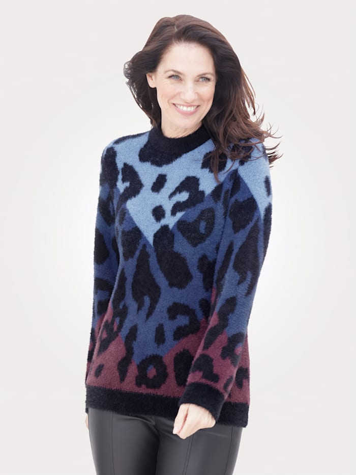 MONA Jumper with a fluffy finish, Blue/Black/Berry
