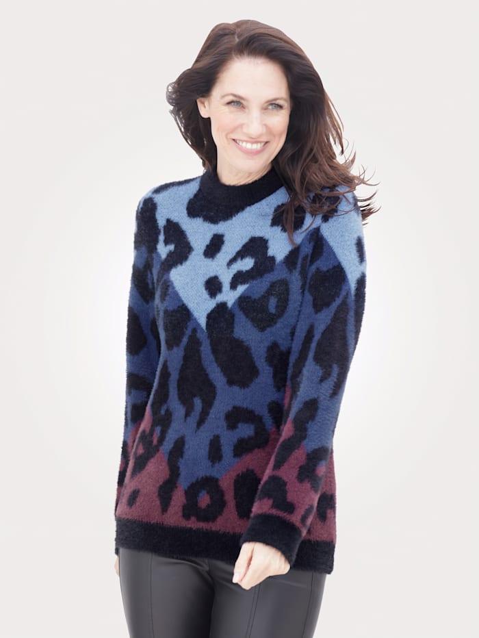 MONA Pullover mit haarigem Garn, Blau/Schwarz/Beere