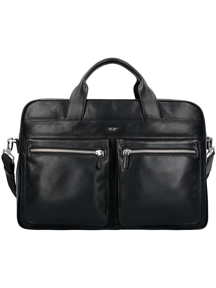 Braun Büffel Golf Aktentasche Leder 40 cm Laptopfach Schlüsselhalter, Tragegriff,, schwarz