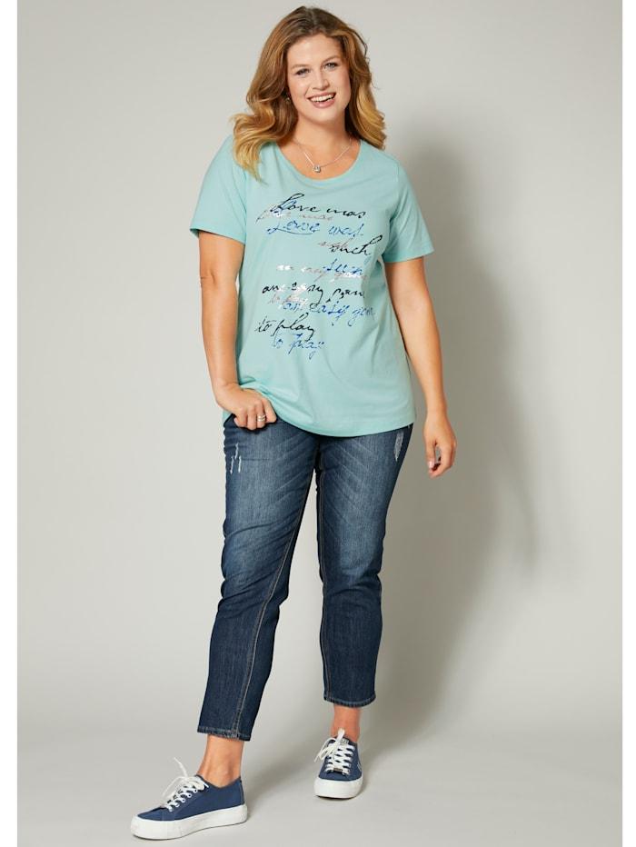 Janet & Joyce Shirt mit Frontprint, Mintgrün