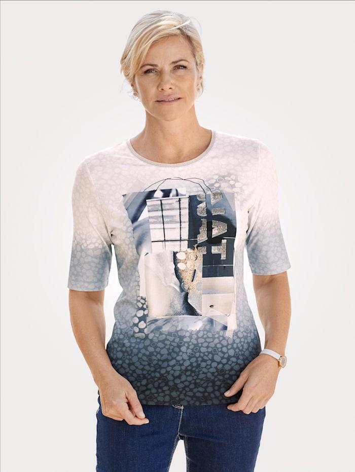 Rabe Shirt mit platziertem Druckmotiv, Sand/Marineblau