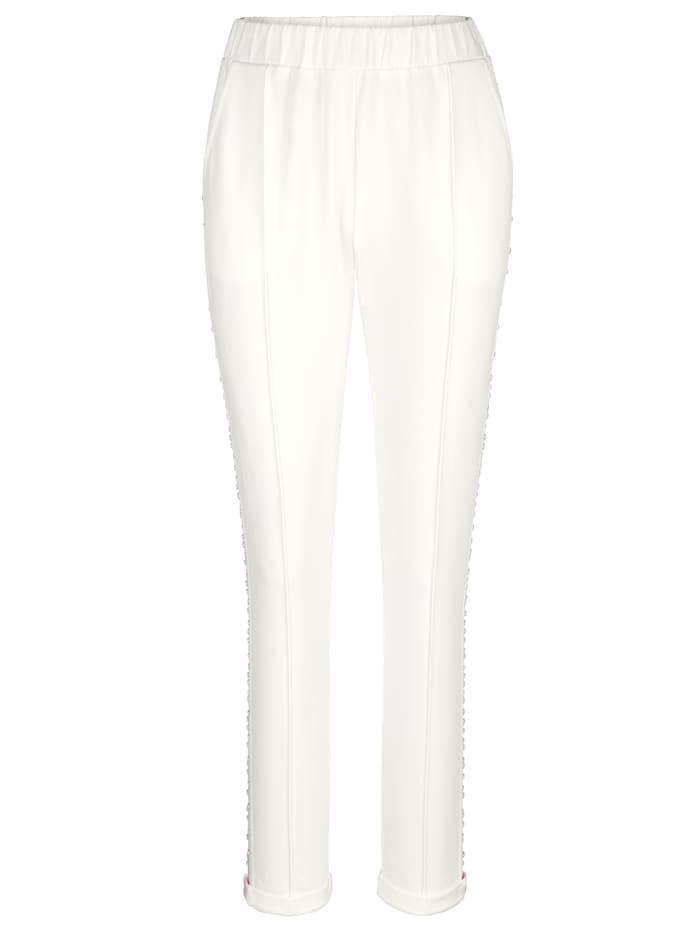 AMY VERMONT Sweathose mit Zierband und Strasssteinen, Off-white
