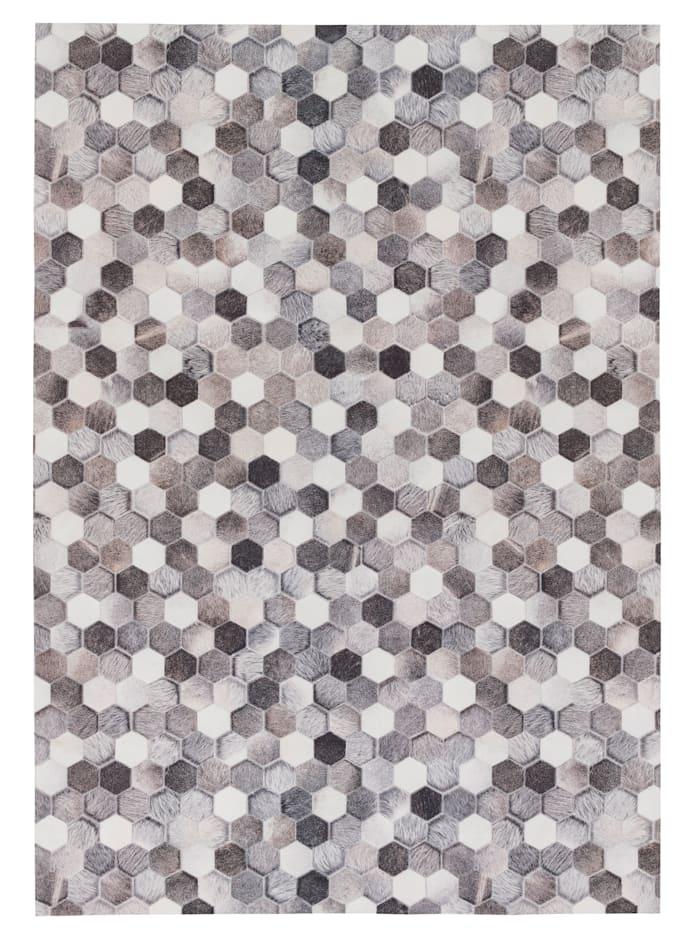 Pergamon Kunstfaser Patchwork Tierfell Pixel, Grau Beige