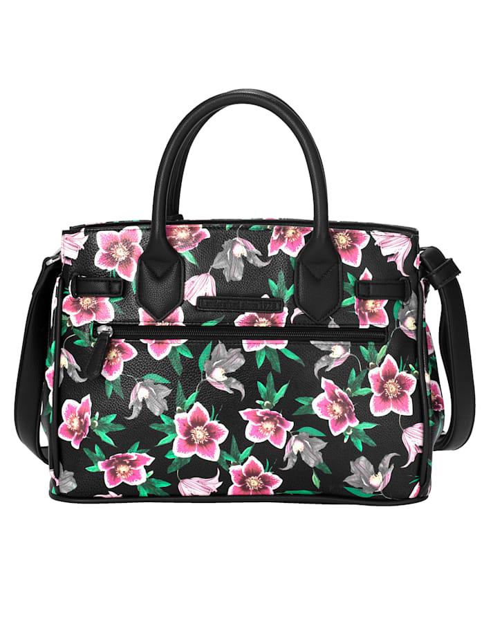 Handväska med dekorband och vridlås