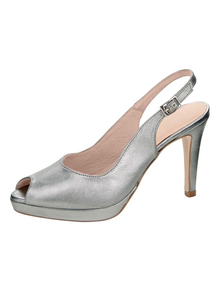 Sandales à plateau en cuir perlato métallisé