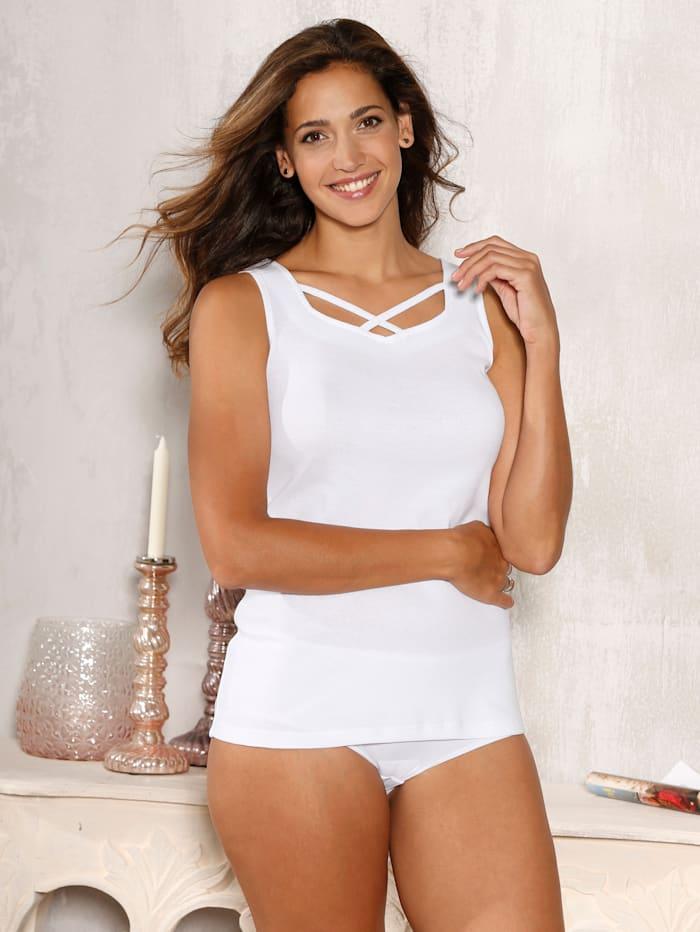 Harmony Hemdchen mit dekorativem Ausschnitt, Weiß